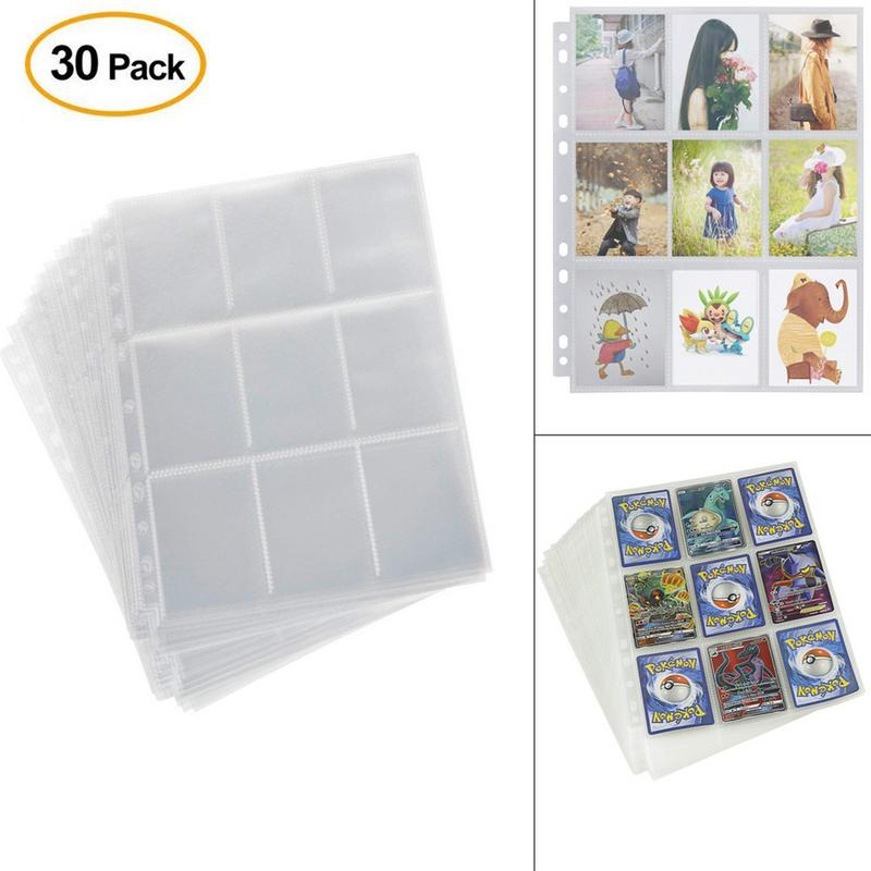 30pack/set Insert From Top 9Pockets/page Transparent Board Game Cards Page Trading Card Protector For Magical Trading Cards Page
