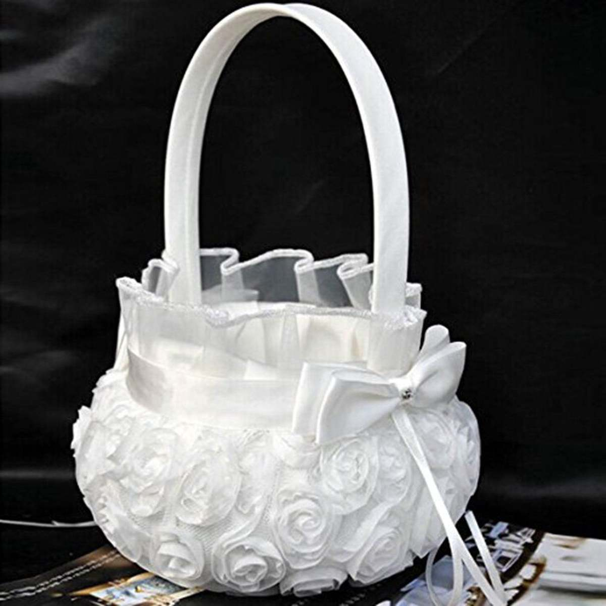 16x21cm White Rose Satin Bowknot Lace Flower Basket Wedding Ceremony Party Flower Girl Basket Supplies Home Festival Decoration16x21cm White Rose Satin Bowknot Lace Flower Basket Wedding Ceremony Party Flower Girl Basket Supplies Home Festival Decoration