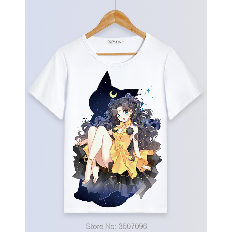 Sailor Moon T Shirt Women Shirts Harajuku Kawaii Sailor Moon Casual Tee Femme Tops Chic Print Student Girls Costume