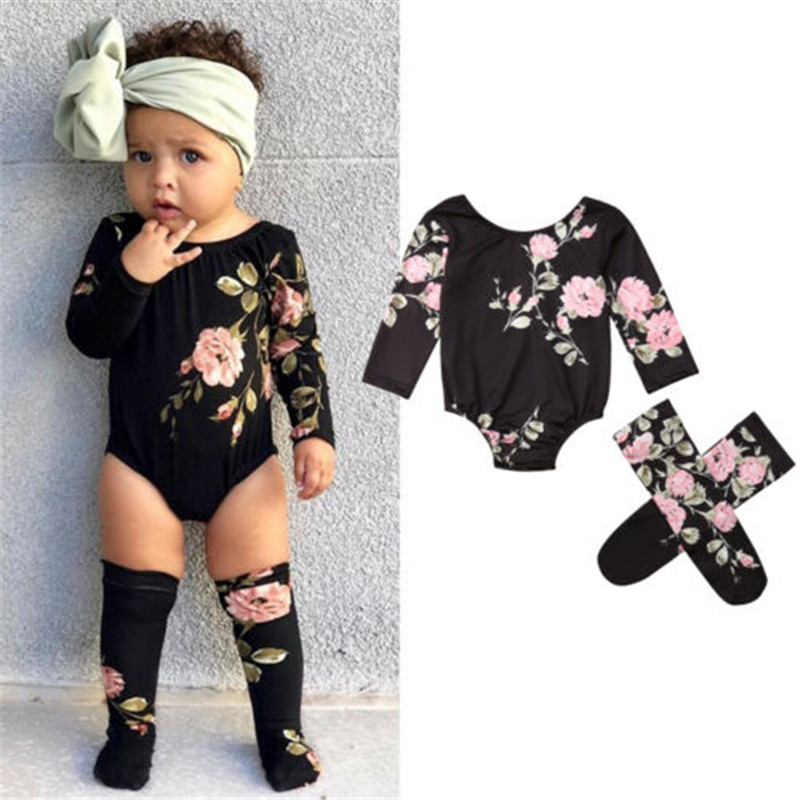 0-18 Months Baby Girls Clothes Set Long Sleeve Baby Rompers Black Floral Print Girls Bodysuits Baby Socks Newborn Child Baby Set