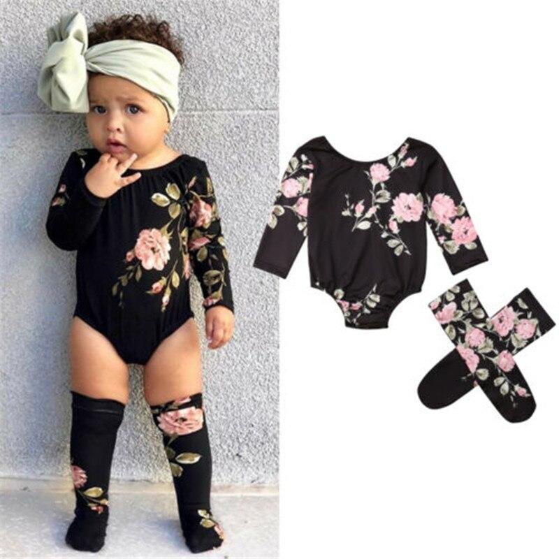 0-18 Monate Baby Mädchen Kleidung Set Langarm Baby Strampler Schwarz Floral Print Mädchen Bodys Baby Socken Neugeborenen Kind Baby Set Fabriken Und Minen