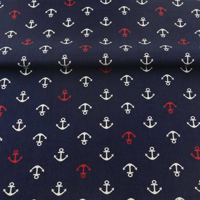 Clearance Sale Red Anchor Nautical Boat Ships Polycotton Fabric SOLD PER HALF MT