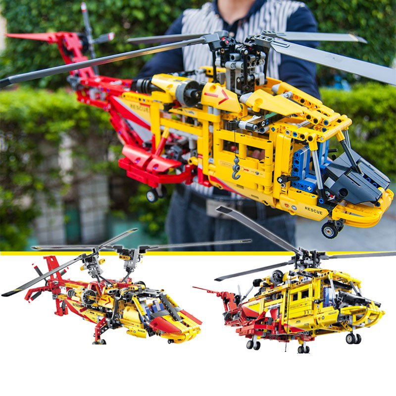 1056pcs Technic 2in1 Rescue Big helicopter Building Blocks Kit Bricks Set City Excavator Model Kids Toys