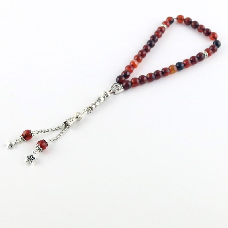 Image 4 - 100% original Natural agate stone Tesbih Islamic prayer beads  Tasbih Muslim for prayer beads prayer 8mm beads Misbaha  TasbeehBracelets