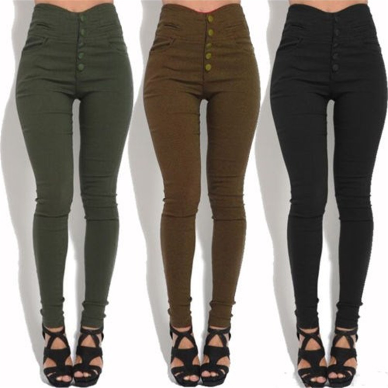Fashion Women's High Waist Skinny Stretch Pencil Pants Slim Fit Trousers Stylish Female Black/Army Green/Brown Button Long Pants
