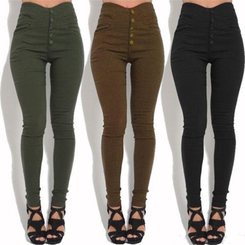 Fashion Women's High Waist Skinny Stretch Pencil Pants Slim Fit Trousers Stylish Female Black/Army Green/Brown Button Long Pants