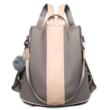 Large Capacity Backpack Anti Theft School Bag Nylon Multifunction Travel Daypack Hairball Parchwork Leather Waterproof