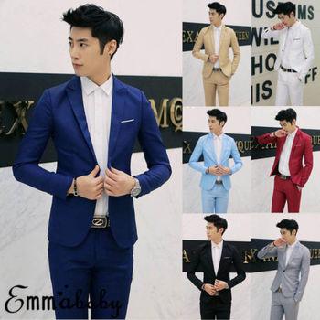 7 ألوان الرجال الحلل العلامة التجارية 2019 الكورية نمط الرجال الحلل وسترة ضئيلة تناسب الصلبة عارضة الدعاوى سترة 1
