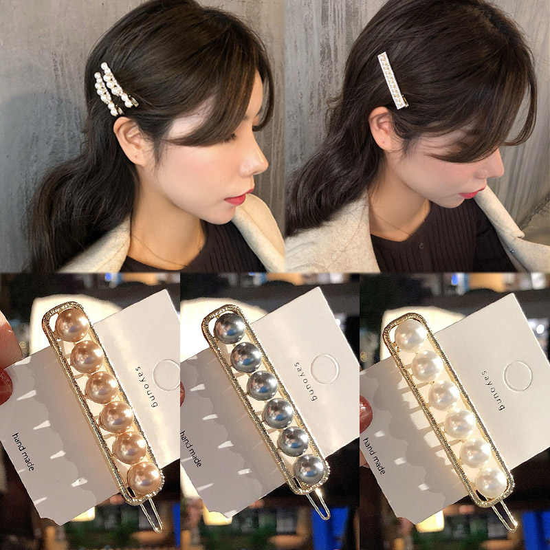 2019 Fashion Imitation Pearl Crystal Korean Barrette 1PC Hair Clip Pearl Flowers Graceful Hair Accessories Handmade