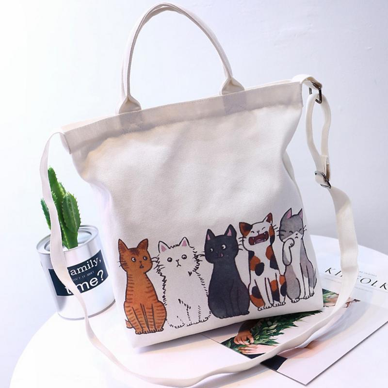 New Cat Print Canvas Shoulder Bag Female Sling Hand Bags Japanese Korean Student Fashion Handbags Crossbody Messenger Bag Purse shoulder bag