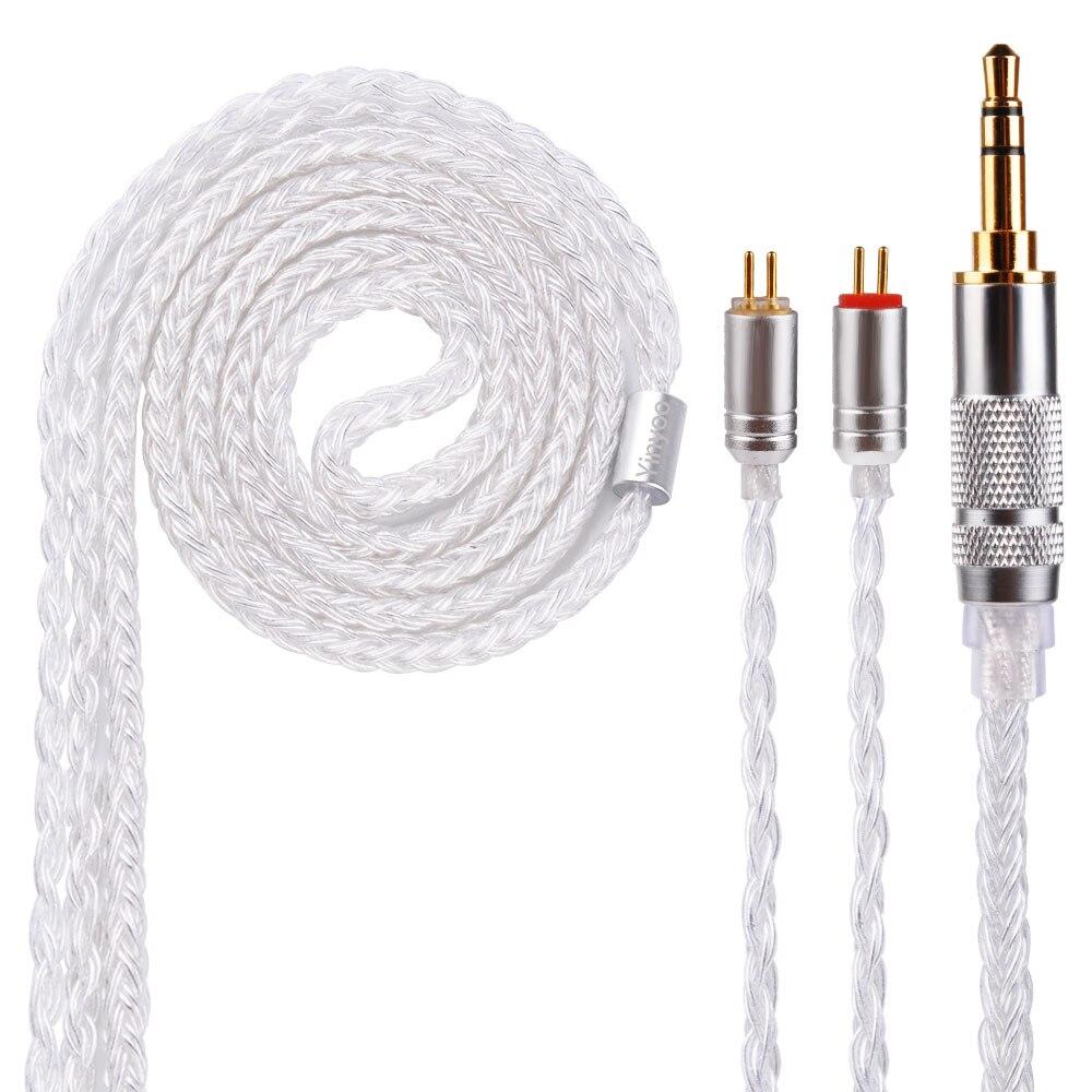 Yinyoo 16 noyaux argent plaqué câble avec MMCX/2pin connecteur 2.5/3.5/4.4mm câble équilibré pour LZ A5 HQ5 HQ6 SE846 KZ ZS10 AS10