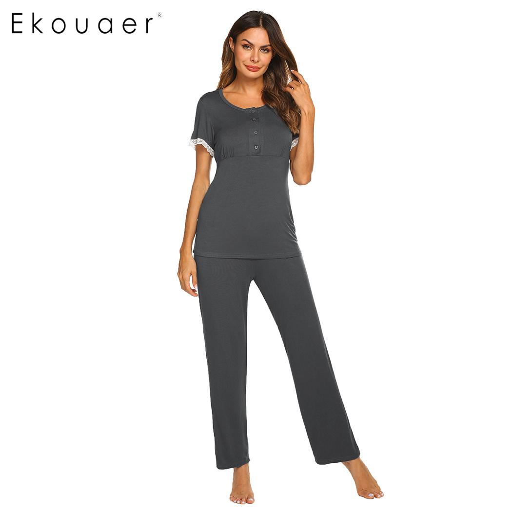Ekouaer Pajama Sets Women Nightwear Suits Solid Women Button Neck Short Sleeve  Elastic Long Pants Maternity 620830efb