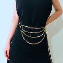 Новая мода Для женщин ретро металлический цепной ремень на талию 4 Слои пояс для платья тела ремни-цепи на не сужающемся книзу массивном с бахромой для женщин