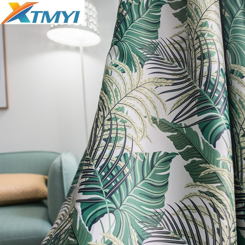 Tropical Blackout Curtains For Living Room Bedroom Window Green Leaves Palm Tree Treatments Shading Panel Drapes Blinds