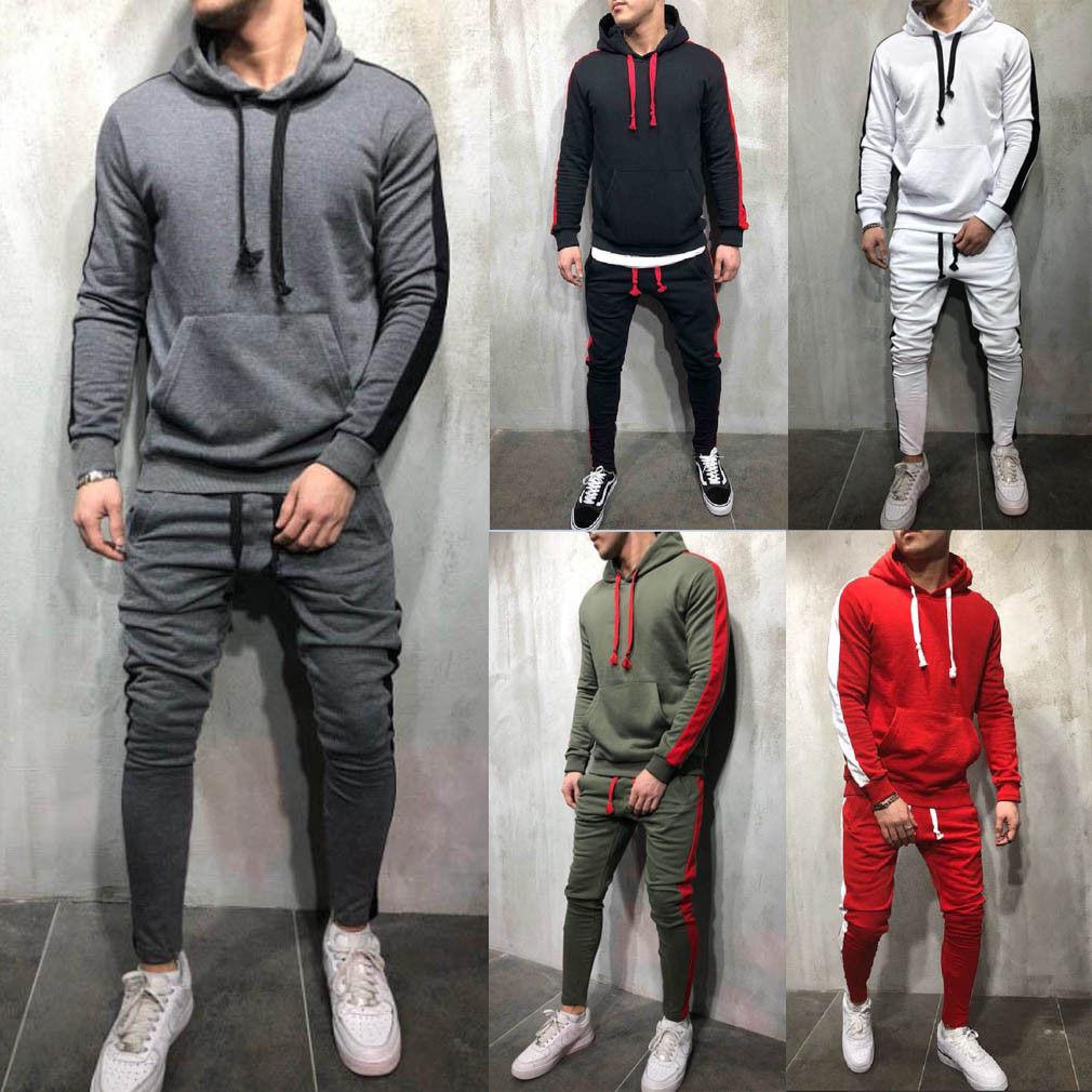 2018 Men Tracksuits Outwear Hoodies Sportwear Sets Male Sweatshirts Cardigan Men Set Clothing+Pants plus size