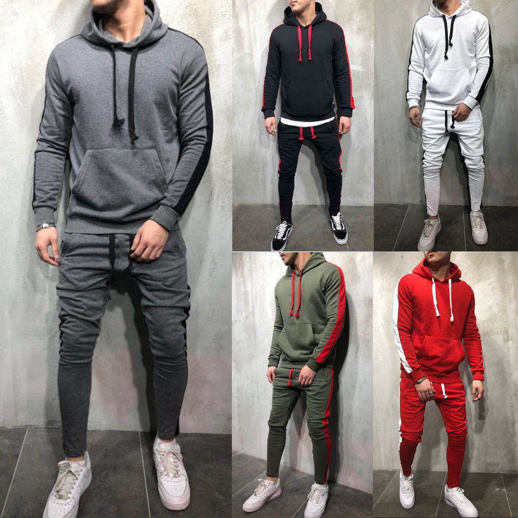 2019 Men Tracksuits Outwear Hoodies Sportwear Sets Male Sweatshirts Cardigan Men Set Clothing+Pants Plus Size