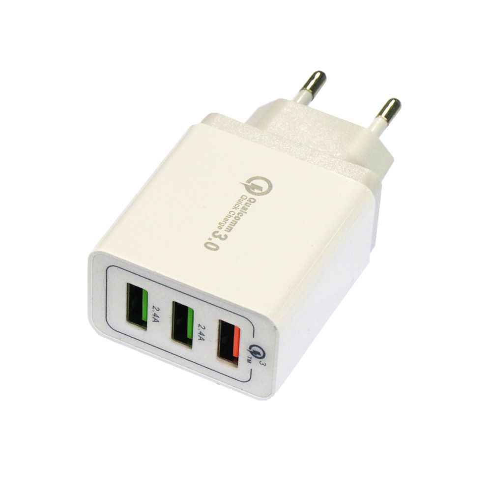 QC3.0 3USB AC100-240V 5A Euro Charger USB Power Adapter