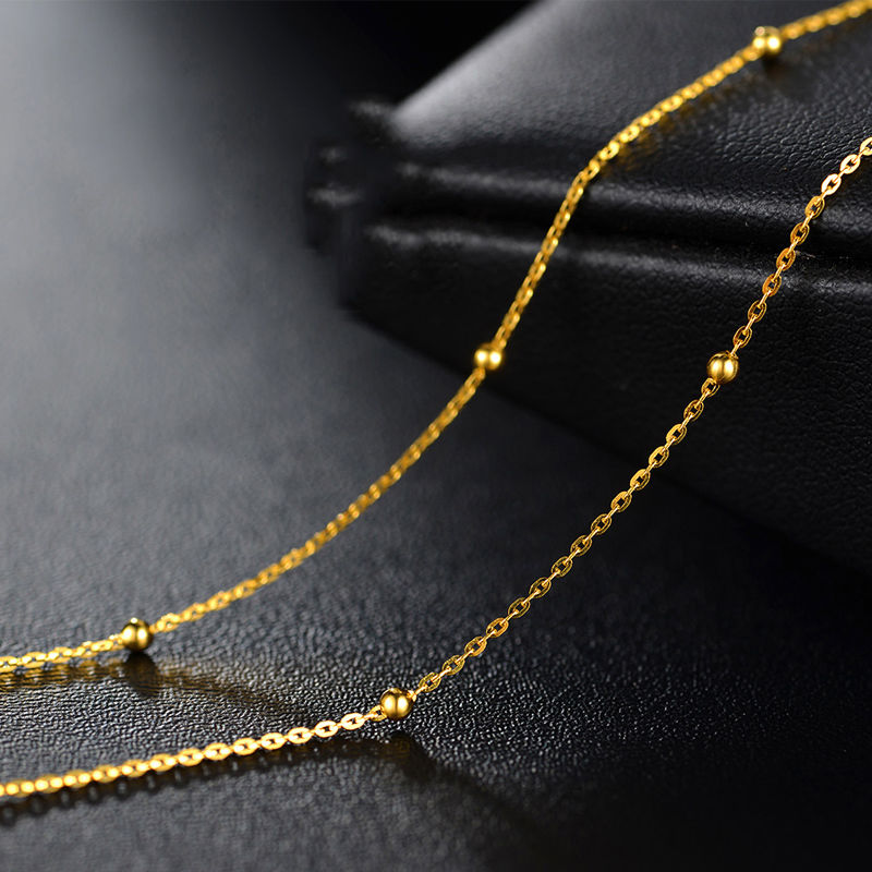 18INCH Solid 18K Yellow Gold Necklace Bead with O Chain Necklace Au75018INCH Solid 18K Yellow Gold Necklace Bead with O Chain Necklace Au750