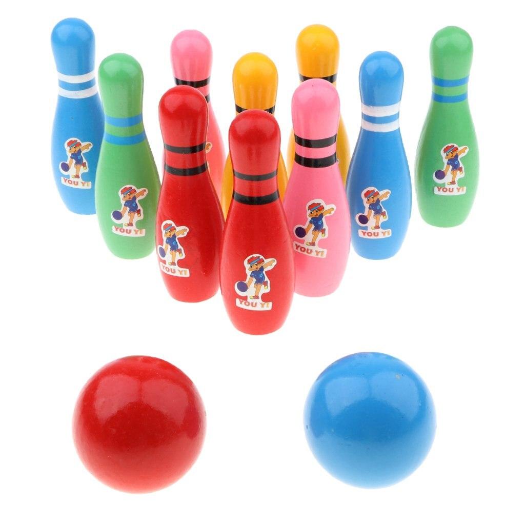 Boule de Bowling en bois jeu de Sport de Bowling Coordination œil-main reconnaissance des couleurs jouets éducatifs d'apprentissage précoce pour les enfants