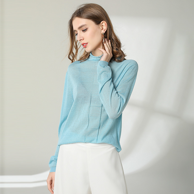 Spring And Autumn 2019 New arrival 93 Wool Rendering sweater light weight fabrics o neck long sleeve knitted shirt spring1912 in Pullovers from Women 39 s Clothing
