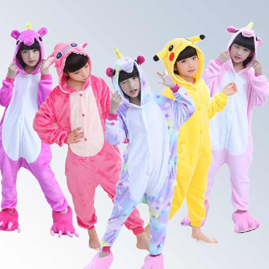 f972242f6b Boys Girls Pajamas Onesie New Style Kids Pajamas Winter Flannel Animal  Unicorn Pikachu Pegasus Cat Children