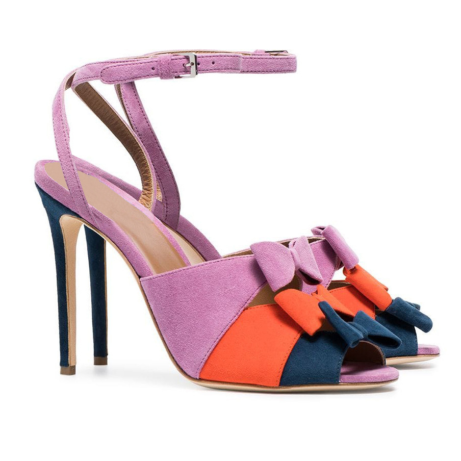 Fashion Mixed Color Butterfly Knot Colorful Sandals Woman in Ankle Buckle Strap with Thin High Heels Sexy Open ToeFashion Mixed Color Butterfly Knot Colorful Sandals Woman in Ankle Buckle Strap with Thin High Heels Sexy Open Toe