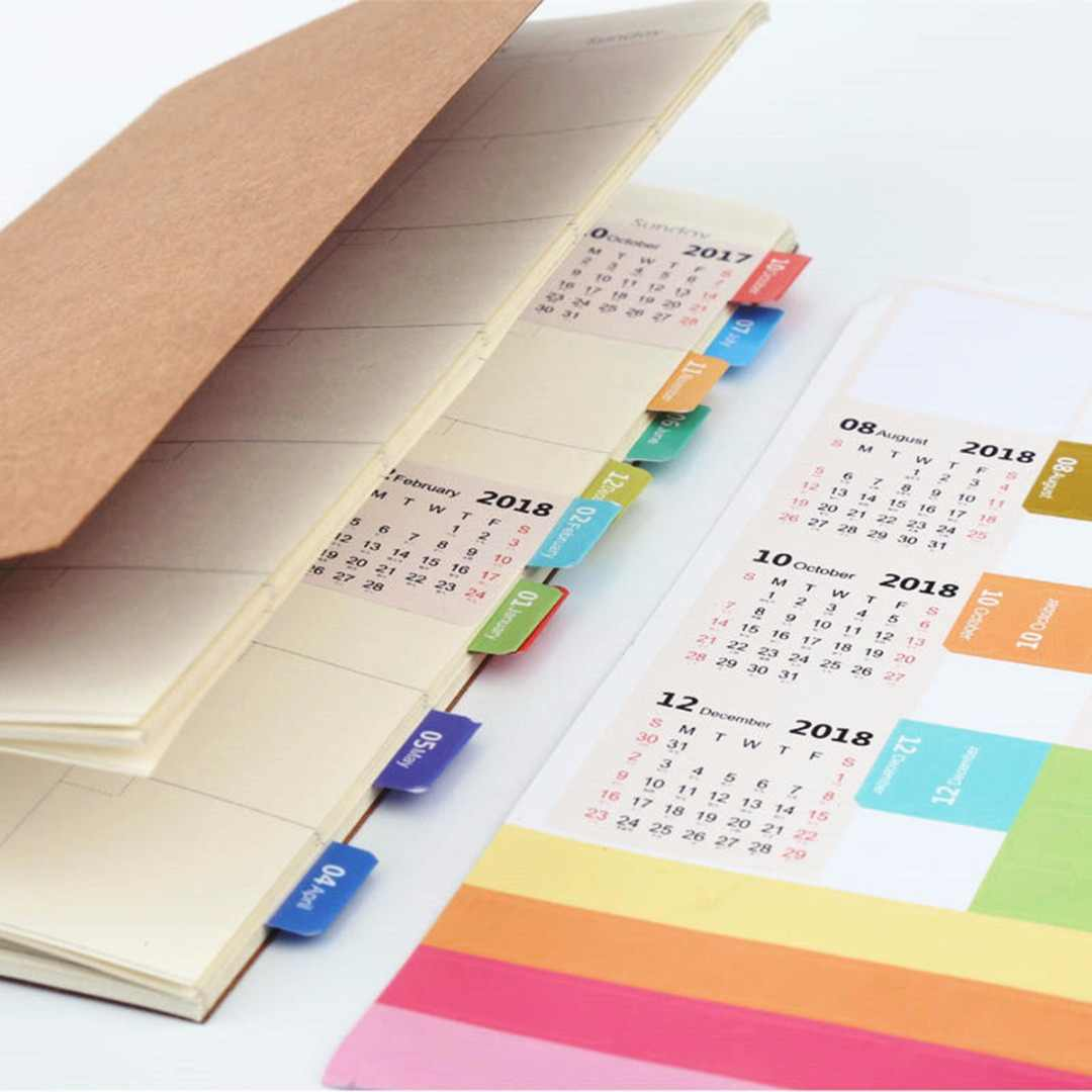 2Sheets 2018 Monthly Calendar Index Tabs Stickers//Lable Marker Page Dividers VQ