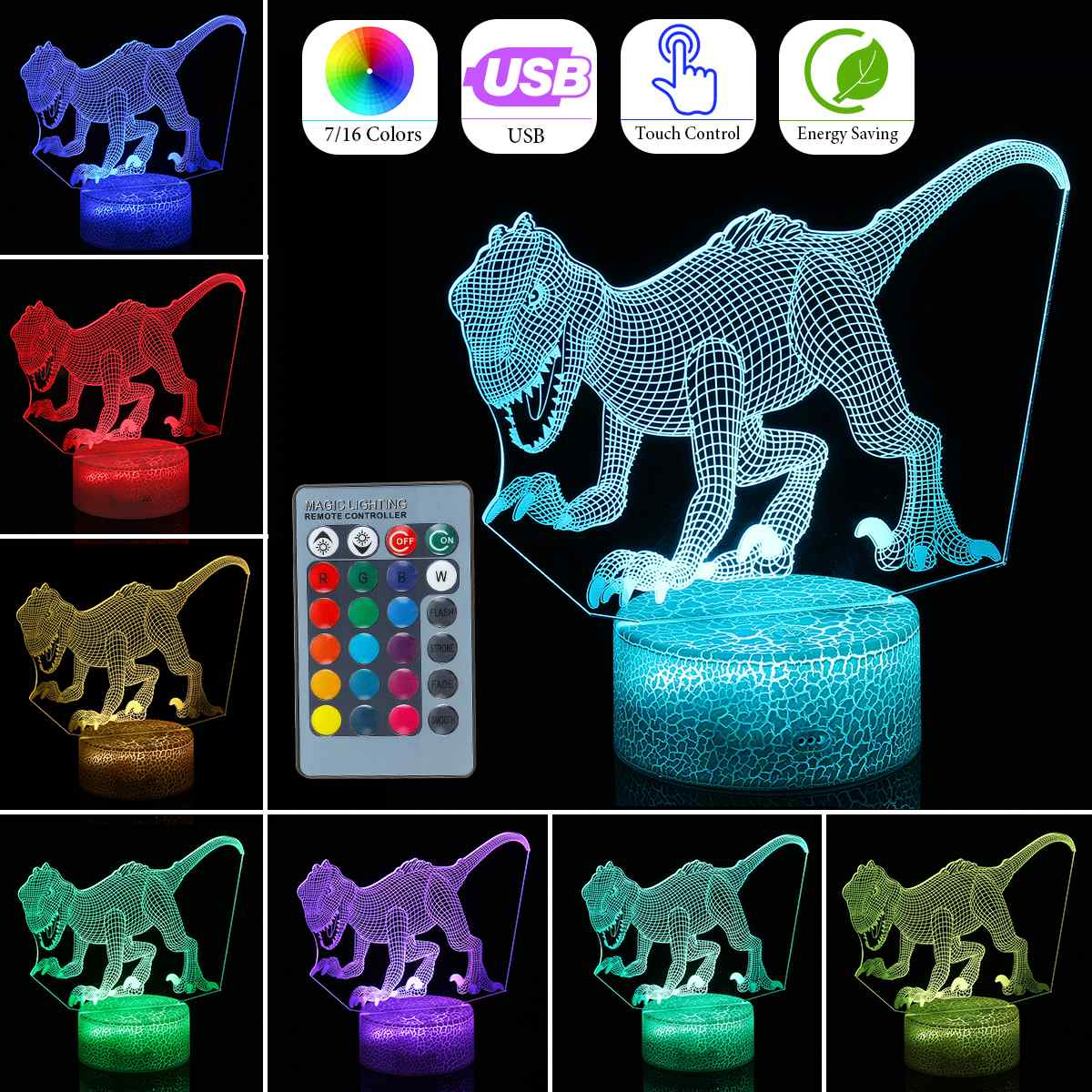 Dinosaur 3D Illusion Lamp Animal LED Night Light For Children Color Change USB Remote/Touch Table Lamp Crack Base Home DecorDinosaur 3D Illusion Lamp Animal LED Night Light For Children Color Change USB Remote/Touch Table Lamp Crack Base Home Decor
