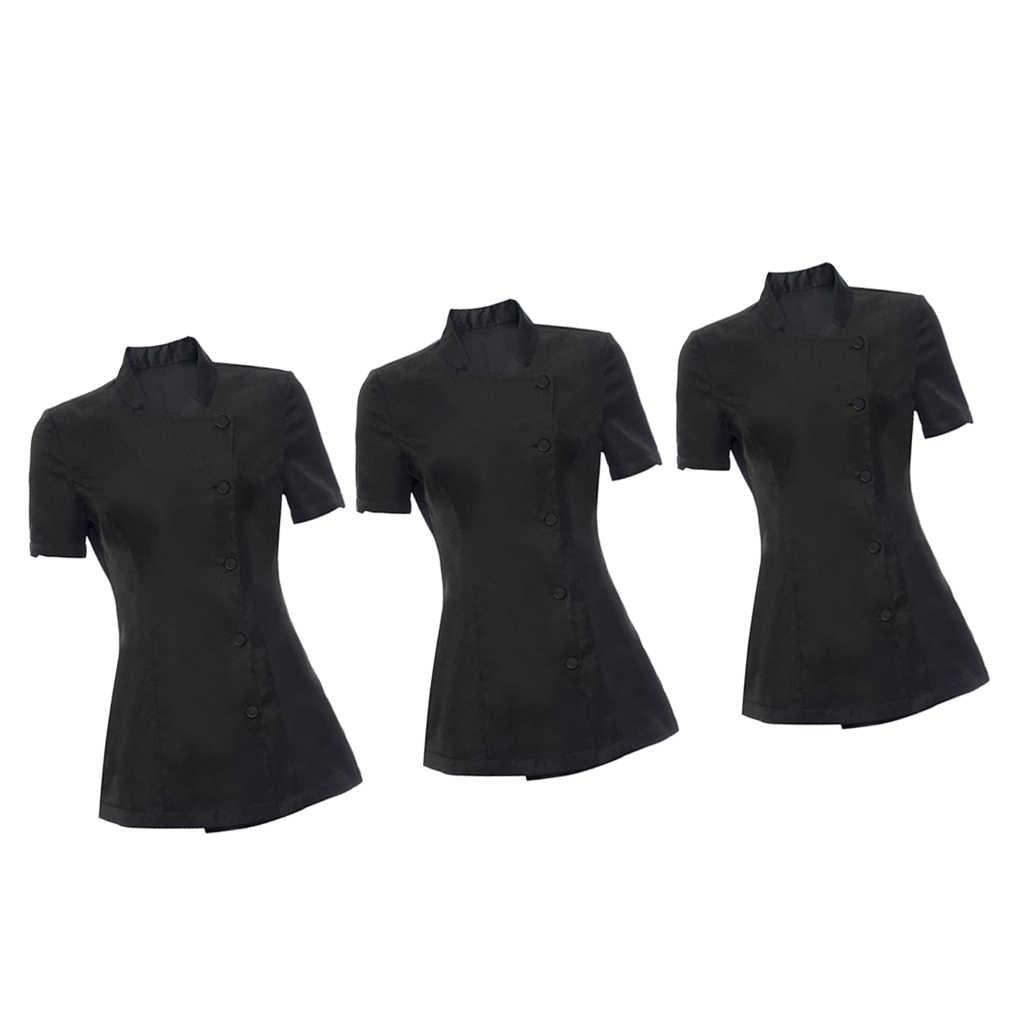 3 adet Kadın Salonu Spa Güzellik Şevval Özçelik Güzellik Kuaför Çivi Sağlık Hemşire doktor üniforması Tunik Siyah Iş Elbisesi S M L