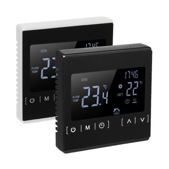 LCD dotykowy termostat z ekranem elektryczne ogrzewanie podłogowe System ogrzewanie wodne termoregulator AC85-240V regulator temperatury tanie i dobre opinie KKMOON CN (pochodzenie) Temperature Controller 49 ° C i Pod DIGITAL Indoor as discripe Wall Hanging 2 0-3 9 Cali Black White