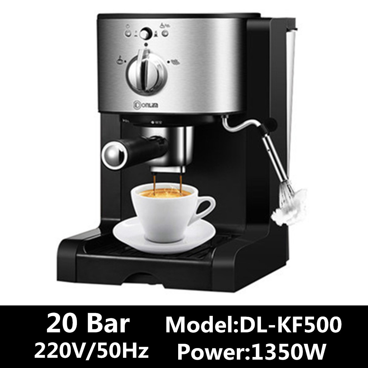 DL-KF500 3In1 Cafe Maker Machine Kitchen 1.5L  Semi Automatic Coffee Maker Barista Espresso Machine Milk SteamerDL-KF500 3In1 Cafe Maker Machine Kitchen 1.5L  Semi Automatic Coffee Maker Barista Espresso Machine Milk Steamer