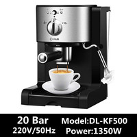 DL KF500 3In1 Cafe Maker Machine Kitchen 1.5L Semi Automatic Coffee Maker Barista Espresso Machine Milk Steamer