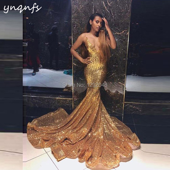 YNQNFS P69 Long Train Deep V Neck Sparkling Sequin Gown Gold Evening Party 2019 Sexy Mermaid Prom Dress