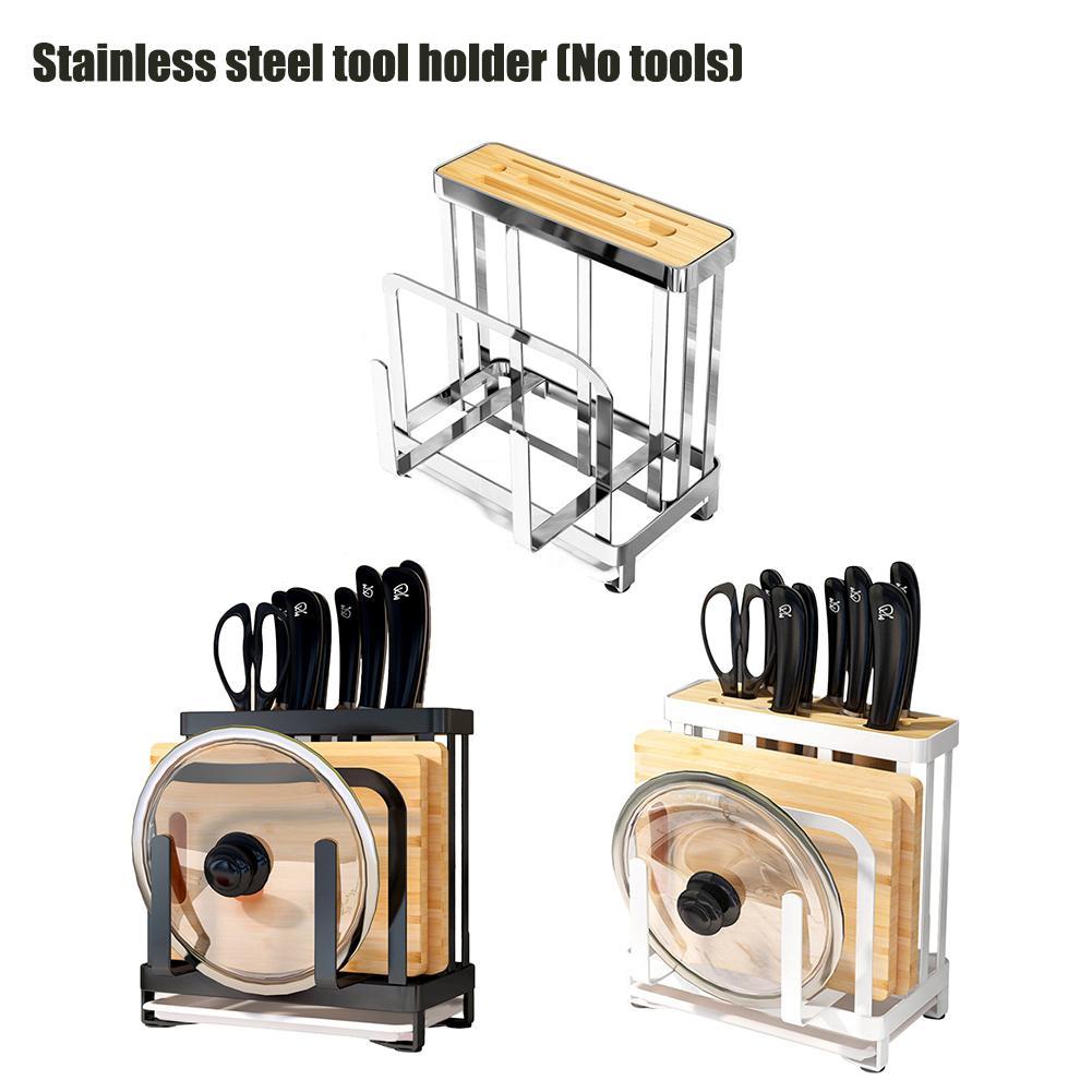 Stainless Steel Holder Kitchen Storage Stand Kitchenware Pan Pot Rack Cover Holder Cutting Board Tool Storage Shelf Accessories