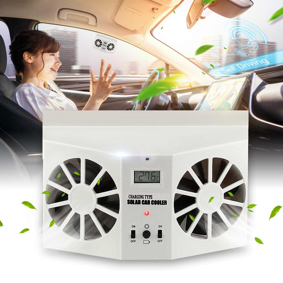 Solar Sun Power Car Auto Front/Rear Window Air Vent Cool Fan Cooler Ventilation System Radiator Can Use Battery Car Air Purifier