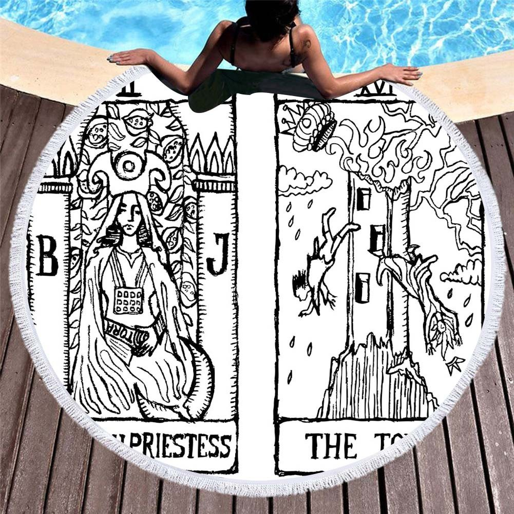 Tarot Round Beach Towel Mandala Circle Tassels Microfiber Towel Bath Large Yoga Mat Blanket Bath Toallas Wall Hanging Tapestry in Bath Towels from Home Garden