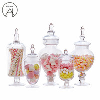 transparent candy jar wedding party table decoration dessert storage bottles candy Storage cans lead free glass tanks covered