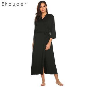 Image 3 - Ekouaer Lange Gewaad Dressing Gown V hals Lange Mouw Gewaad Nachtkleding Nachtjapon Badjassen Vrouwen Solid Casual Comfortabele Losse Gewaden