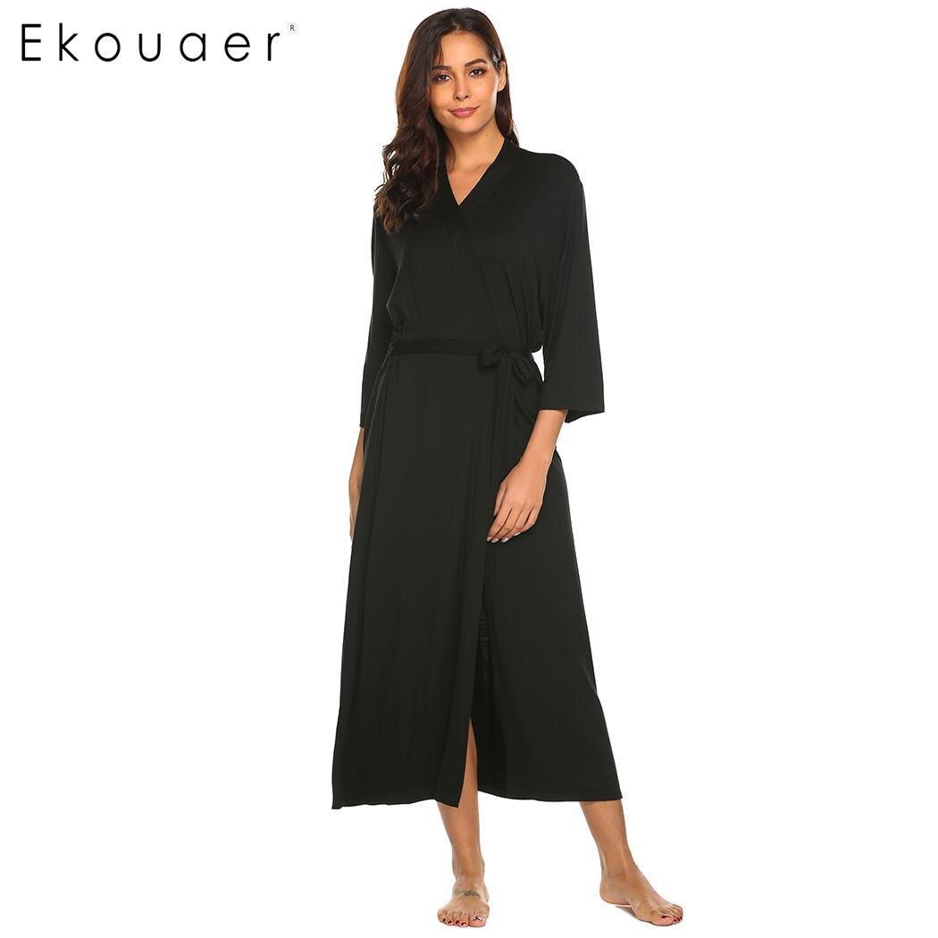 Image 3 - Длинное платье Ekouaer, с треугольным вырезом и длинным рукавом, ночная рубашка, Женские однотонные Повседневные Удобные свободные халатыХалаты    АлиЭкспресс