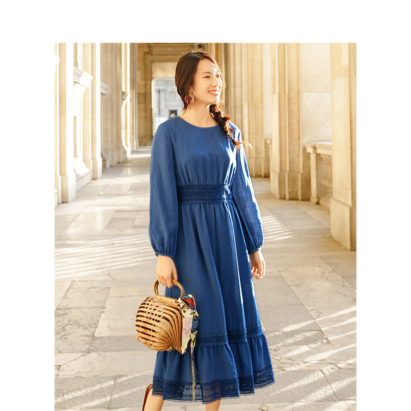 INMAN jesień O neck Retrao literackie wakacje zdefiniowane talii Slim luźna linia kobiety sukienka w Suknie od Odzież damska na  Grupa 3