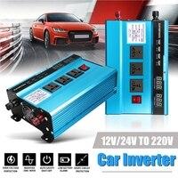 Напряжение трансформатор DC12/24 V к AC220V пик 3000 Вт автомобиль солнечной Мощность инвертор синусоида USB конвертер эффективность защиты
