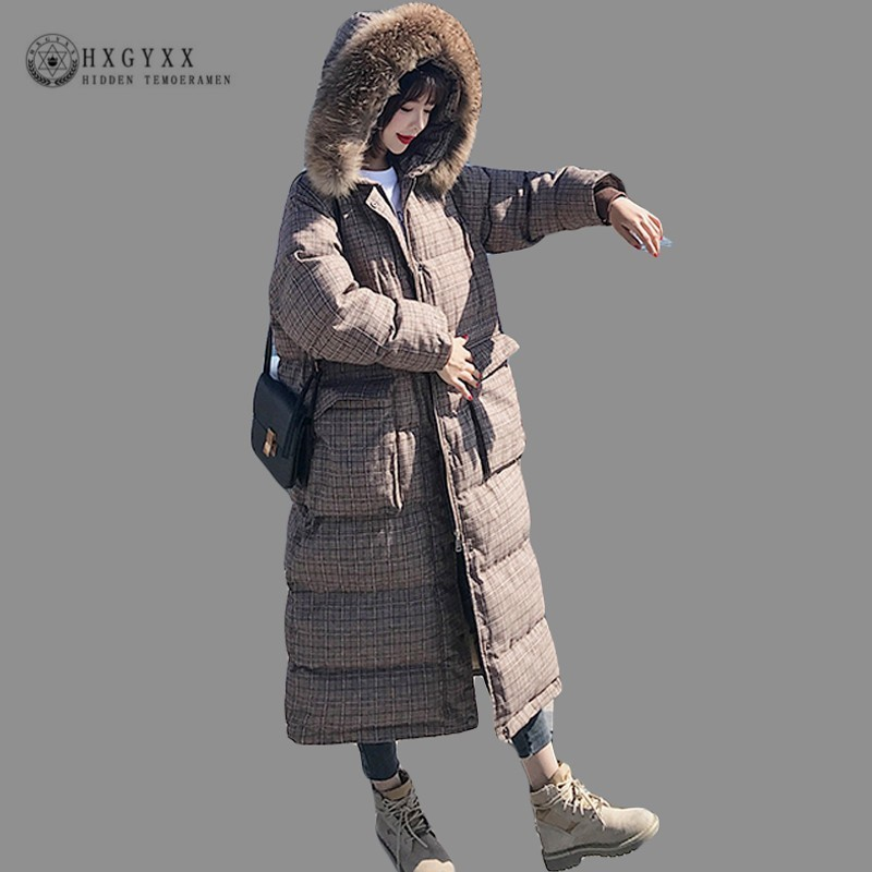 Fur Collar Winter Jacket Women Quilted Coat Long 2018 Warm Outwear Thick Hooded   Parka   Female Plus Size Plaid Clothes Okd619