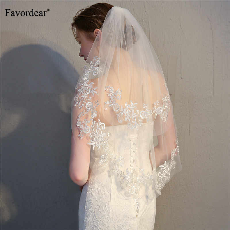 Favordear Silver Lace Edge Short Bridal Veil Velo De Novia Ivory Veil Two-layer Cathedral Soft Tull Wedding Veil with Comb