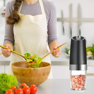 Image 5 - ALIM Горячая Премиум гравитационная электрическая мельница для соли и перца, набор из 2 аккумуляторов, солонка, автоматическая, одна рука, перец Mil
