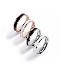 Korean style stainless steel fashion ring enamel dripping ring lovers' tail ring engagement ring anillos mujer(China)