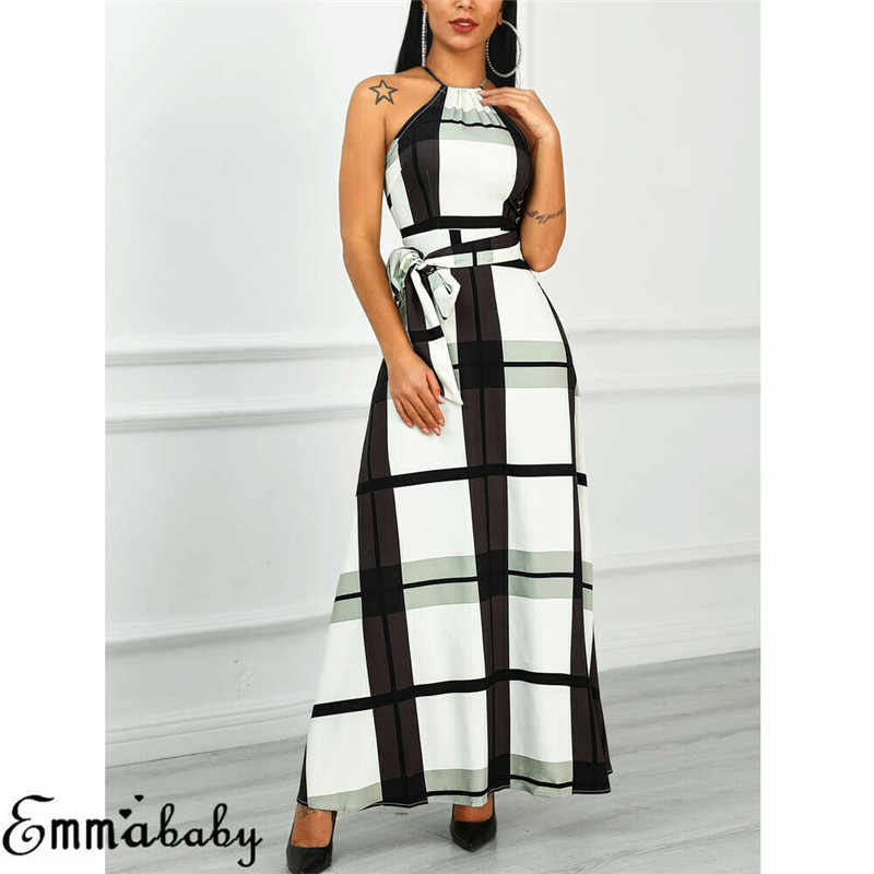 2019 Летнее Длинное платье в клетку с принтом Бохо пляжное платье туника макси платья женские вечерние платья сарафаны Vestidos de festa