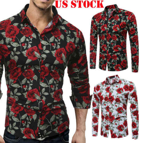 Top Long Sleeve Casual Stylish Luxury Dress Shirts Slim Fit Floral Mens Shirt