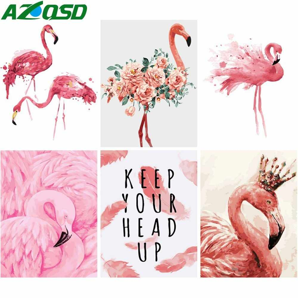 AZQSD Oil Painting By Numbers Flamingo Hand Painted Canvas Wall Picture Art Animal Modern DIY Home Decoration SZYH6277