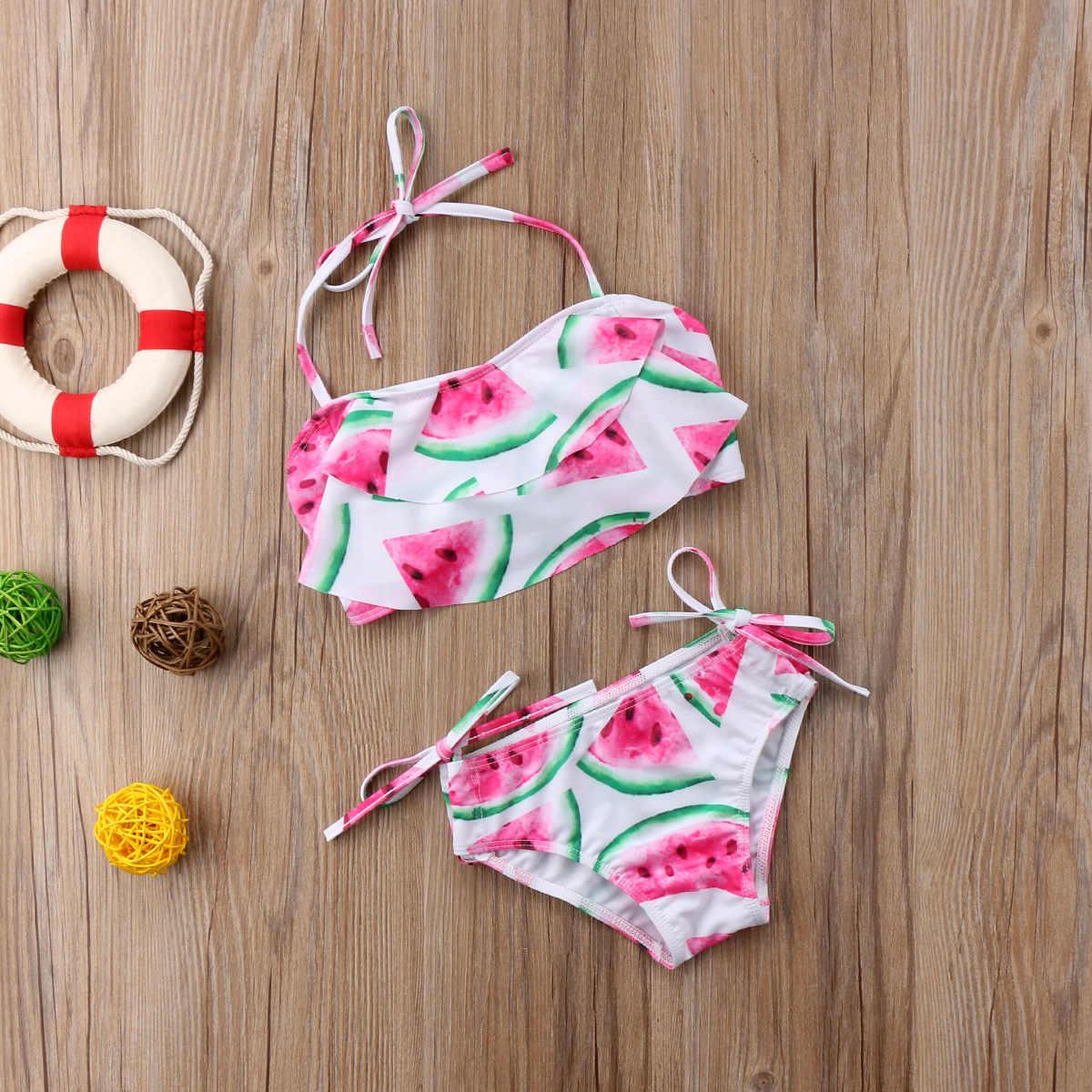 8d3c4de5f7e56 ... Kids Baby Girl Summer Watermelon Swimsuit Strap Halter Tops Swimming  Bottom 2PCS Bikini Set Beachwear Bathing ...