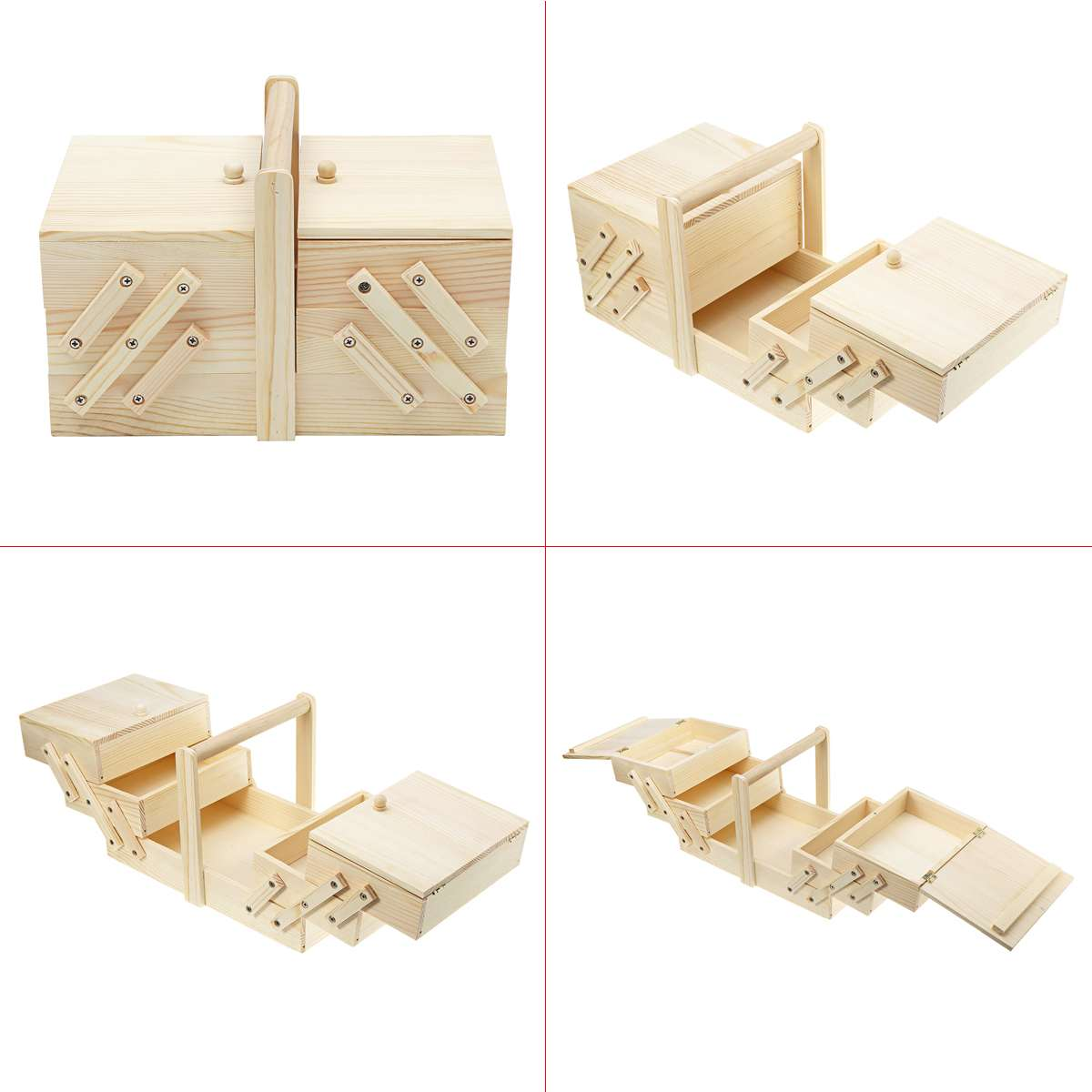 29.5x19x18cm Portable Wooden Storage Case Box Essential Oil Storage Cosmetics Vintage Jewelry Home Mess Sewing Ring Expandable
